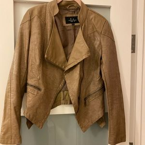 Jackets & Blazers - Taupe faux leather jacket